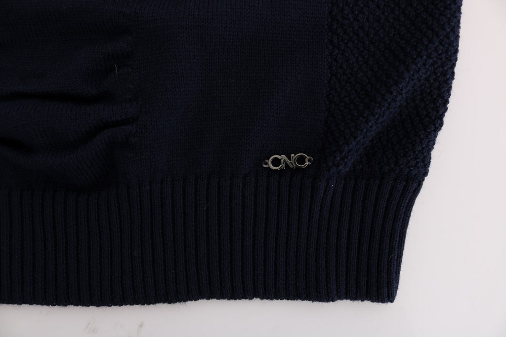Blue V-Neck Wool Blend Sweater