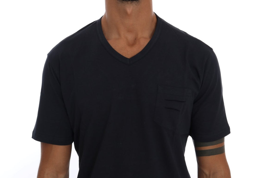 Blue Cotton V-neck T-Shirt