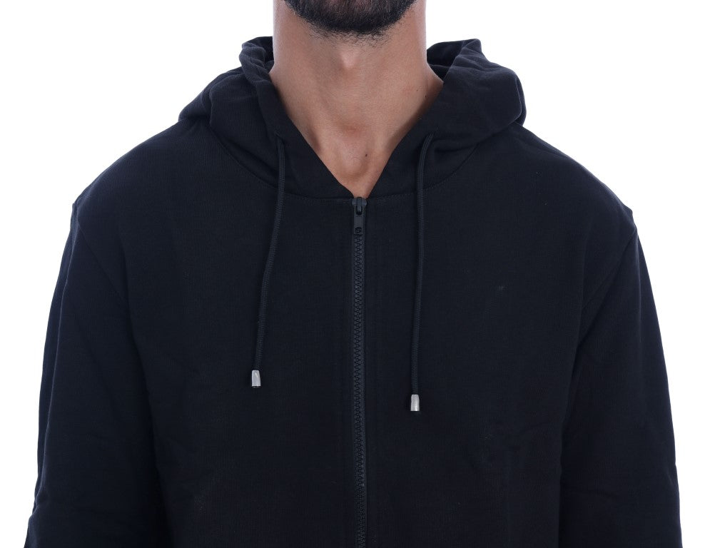 Black Full Zipper Hodded Cotton Sweater