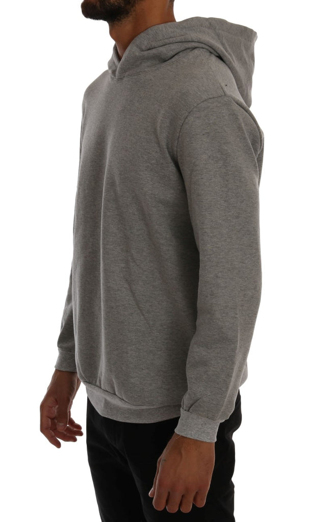 Gray Pullover Hodded Cotton Sweater