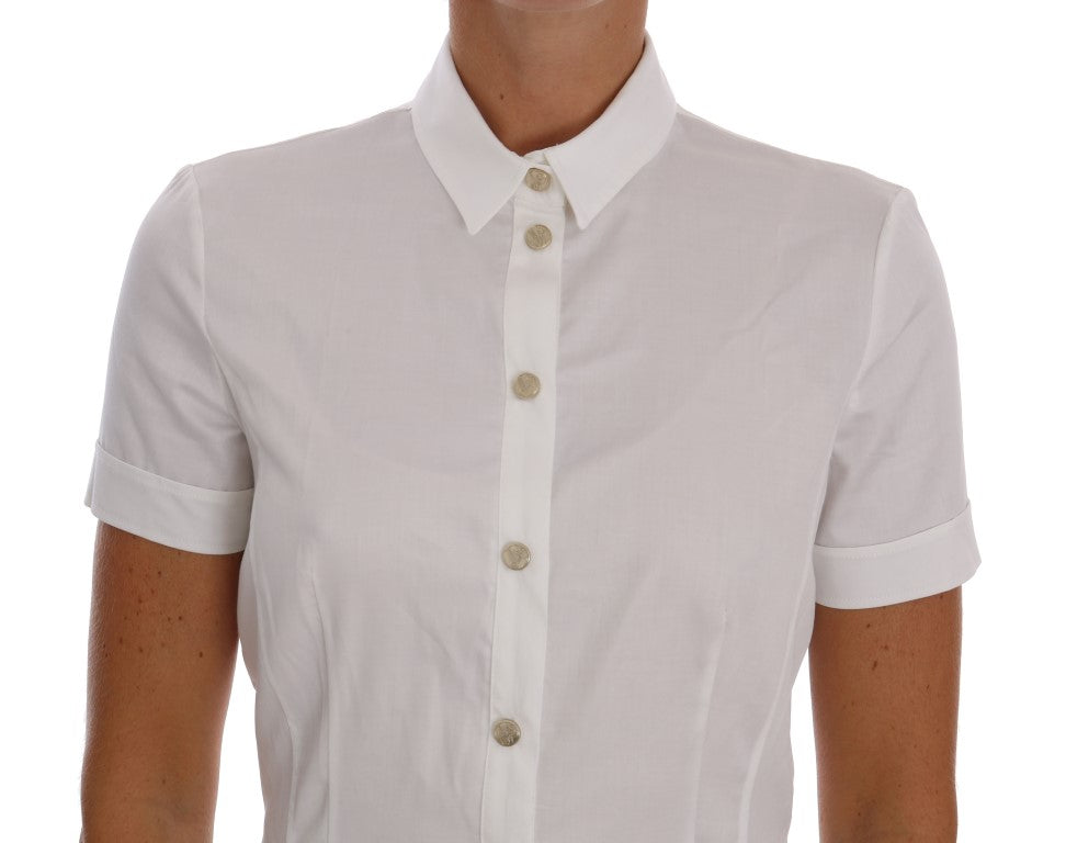 White Cotton Stretch Blouse Shirt