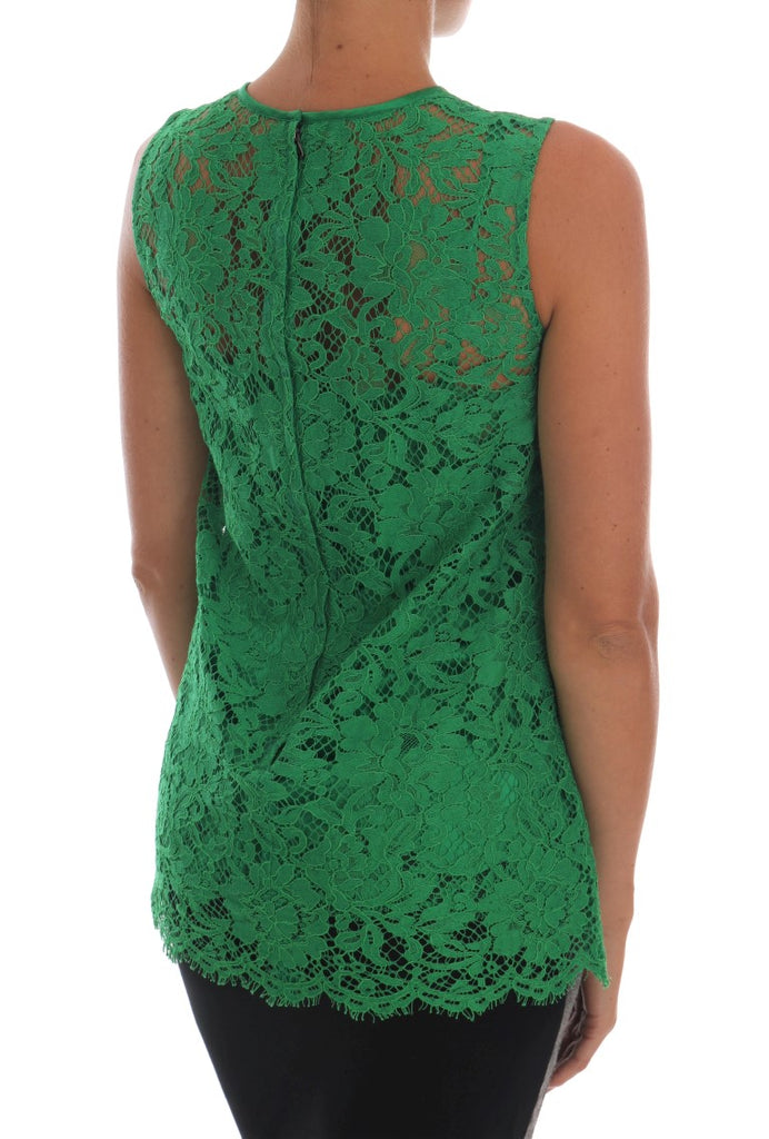 Green Floral Lace Top Blouse