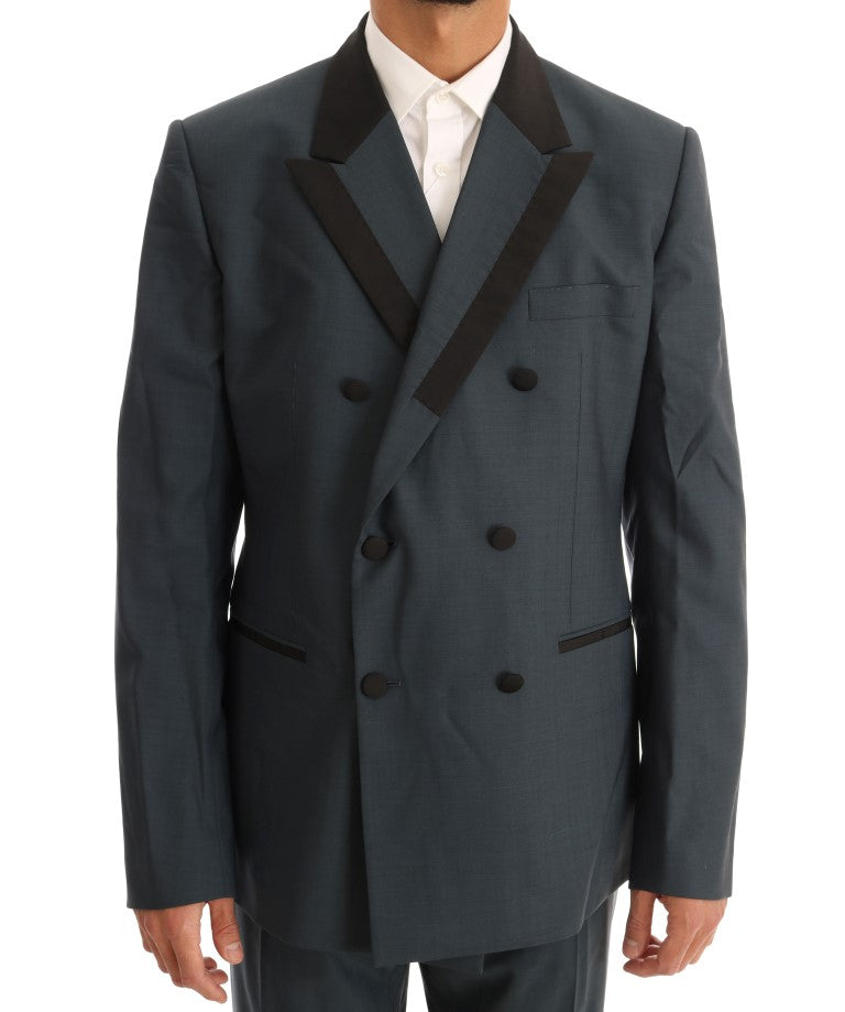 Blue Wool Double Breasted 3 Piece Suit