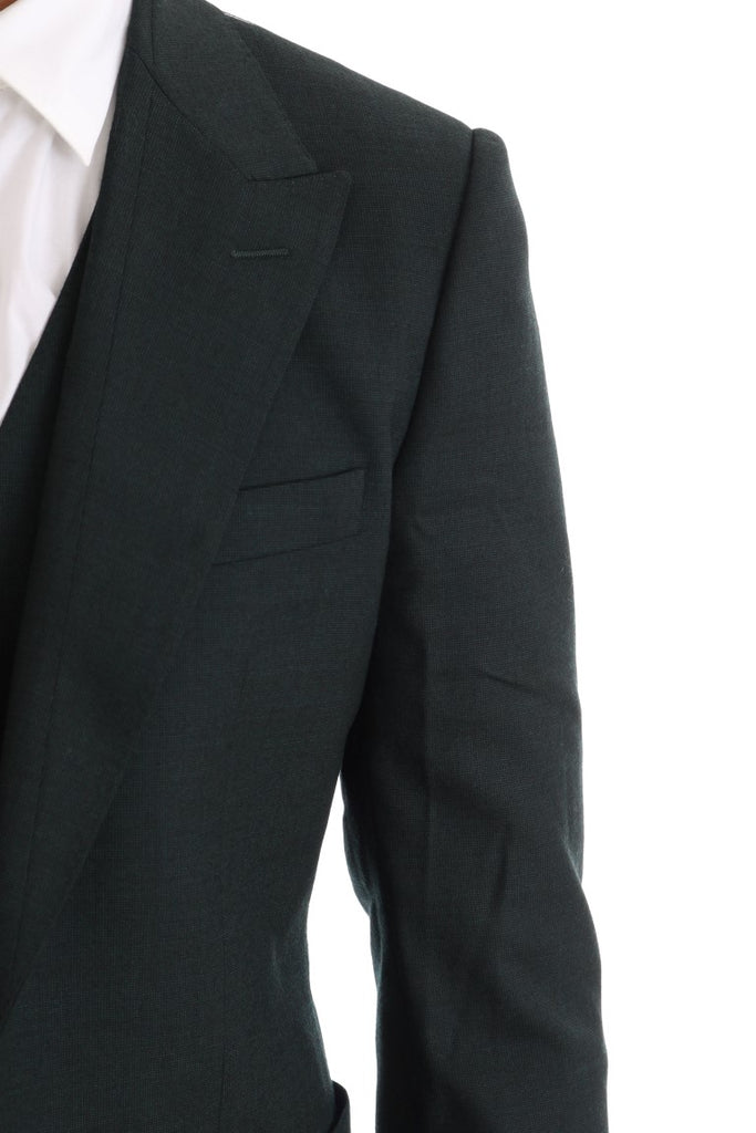 Green Wool Stretch Slim Two Button Suit
