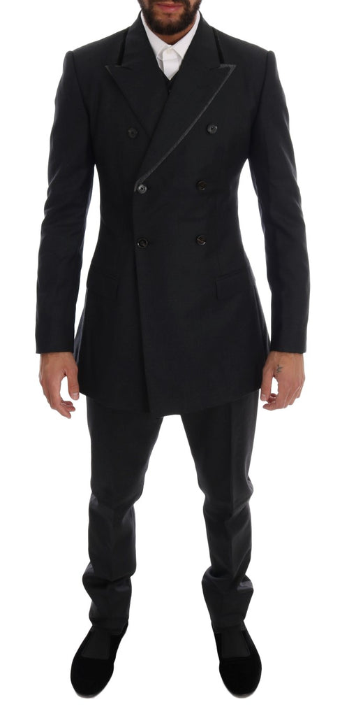 Gray Wool Double Breasted 3 Piece Suit