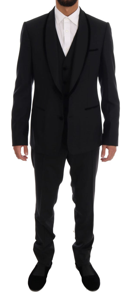Black Wool Stretch Slim Fit 3 Piece Suit