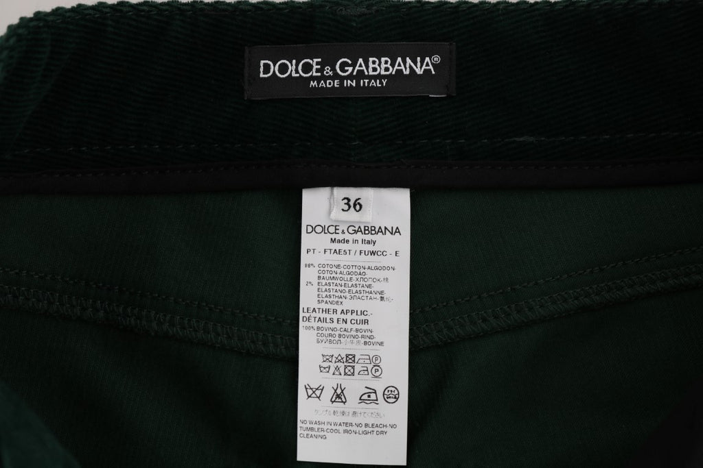 Green Corduroy Cotton Stretch Jeans
