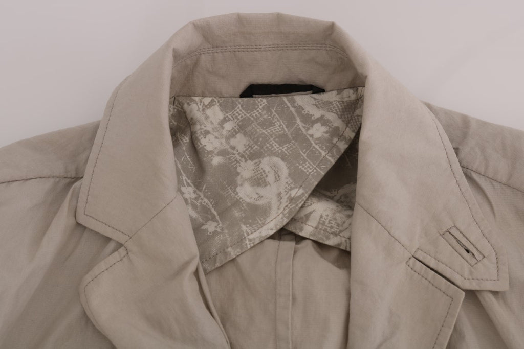 Beige Cotton Casual Jacket