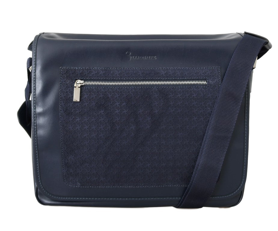 Blue Leather Messenger Shoulder Bag