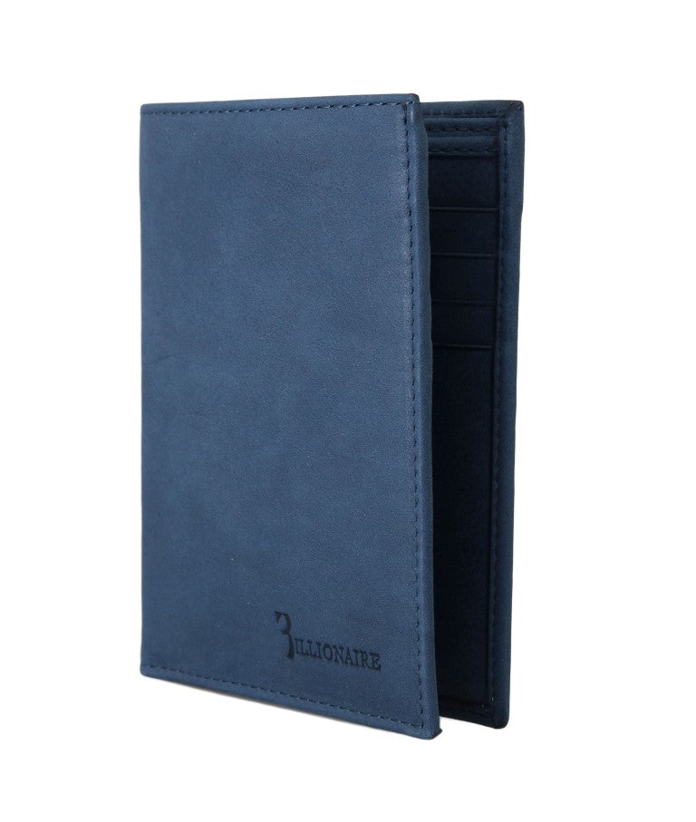 Blue Leather Bifold Wallet
