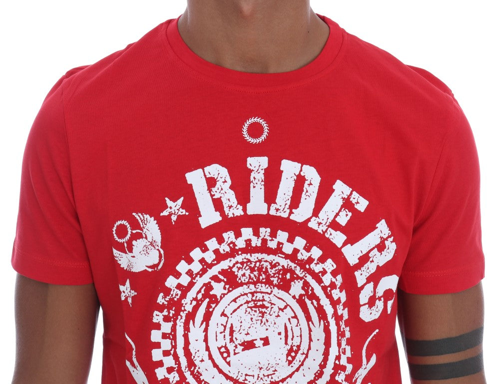 Red Cotton RIDERS Crewneck T-Shirt