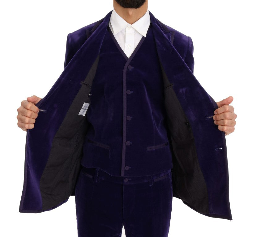 Purple Velvet Slim Fit Double Breasted Suit