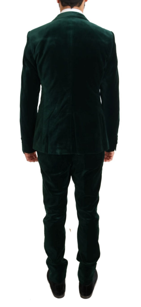 Green Velvet Slim Fit Two Button Suit
