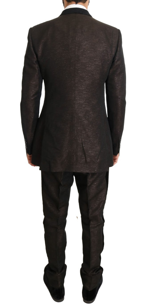 Brown Double Breasted Slim Fit Suit