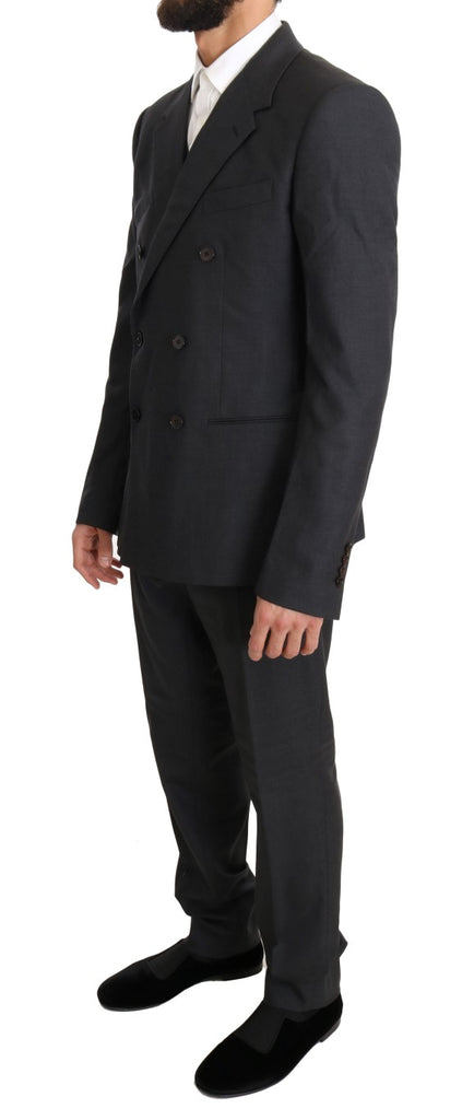 Gray Wool Silk Double Breasted Slim Suit