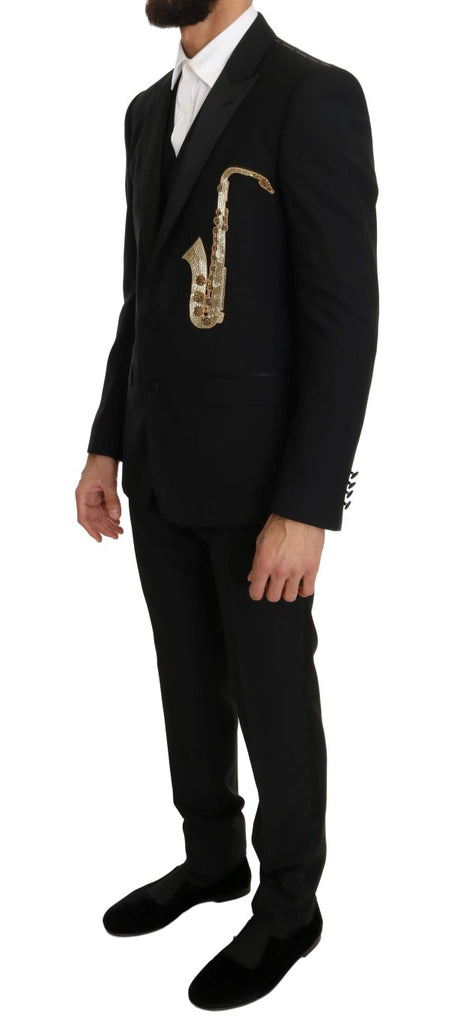Black Wool Silk Saxophone Slim Fit Suit