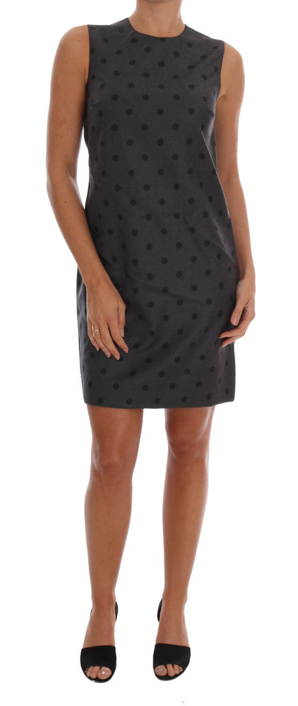 Gray Polka Dotted Sheath Wool Dress