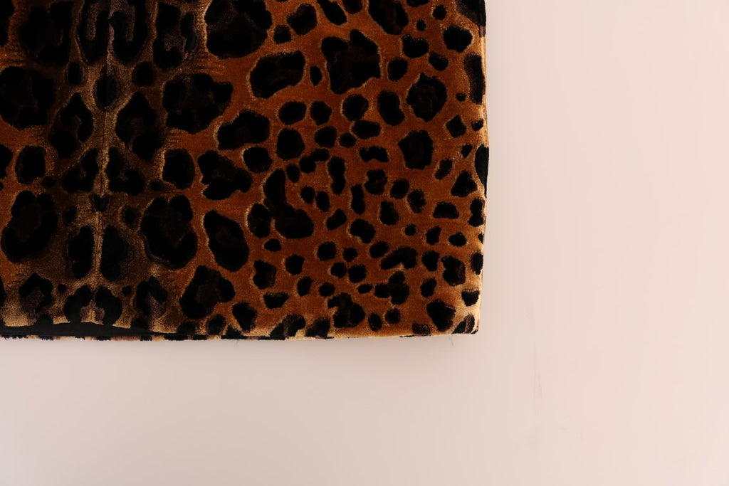 Brown Leopard Print Silk Sheath Dress