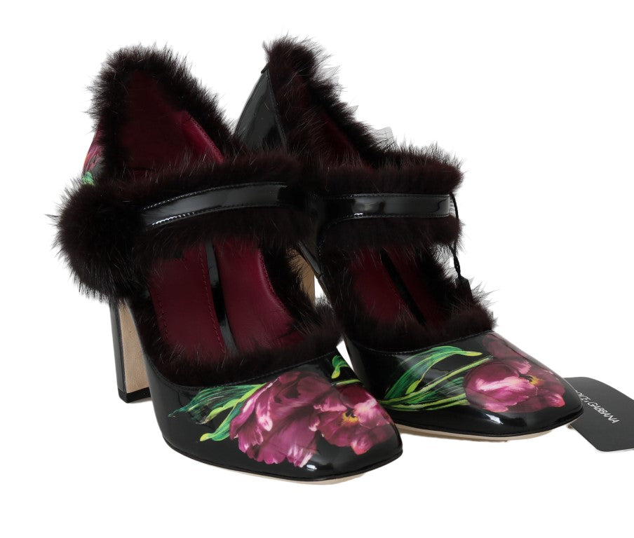 Black Leather Purple Tulip Mink Fur Pumps