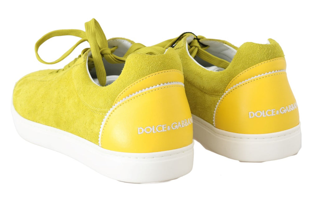 Yellow Leather Mens Casual Sneakers