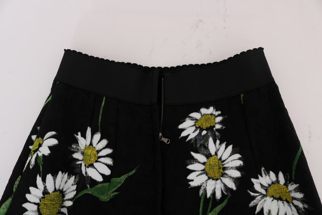 Black Embellished Daisy Brocade Skirt
