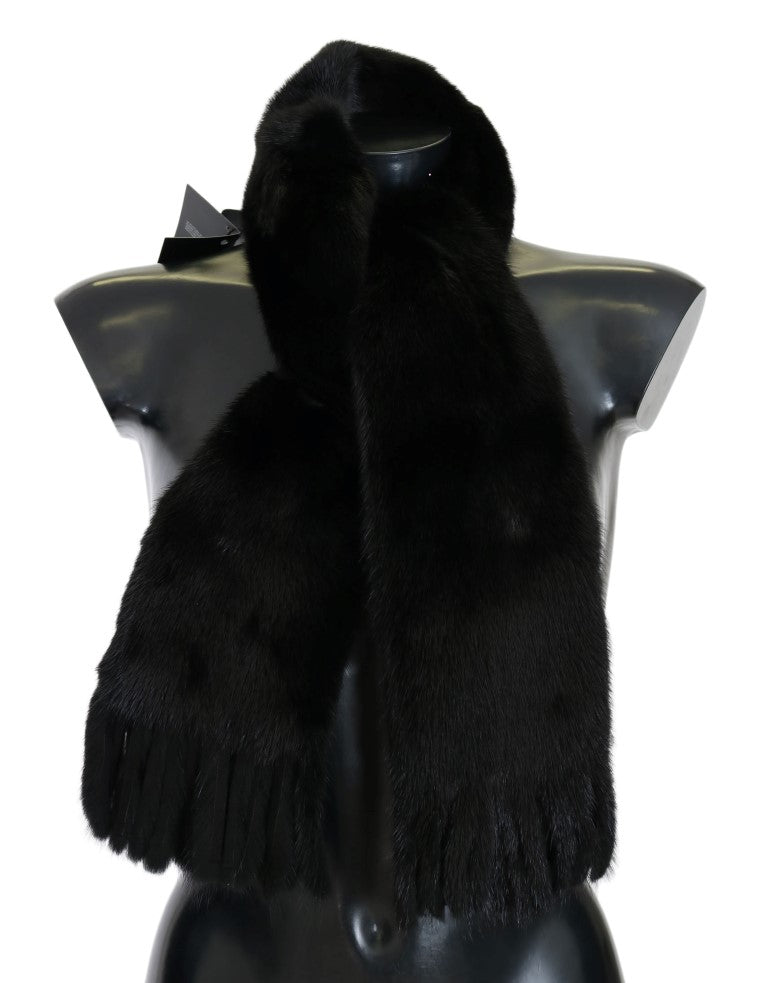 Black Mink Fur Scarf