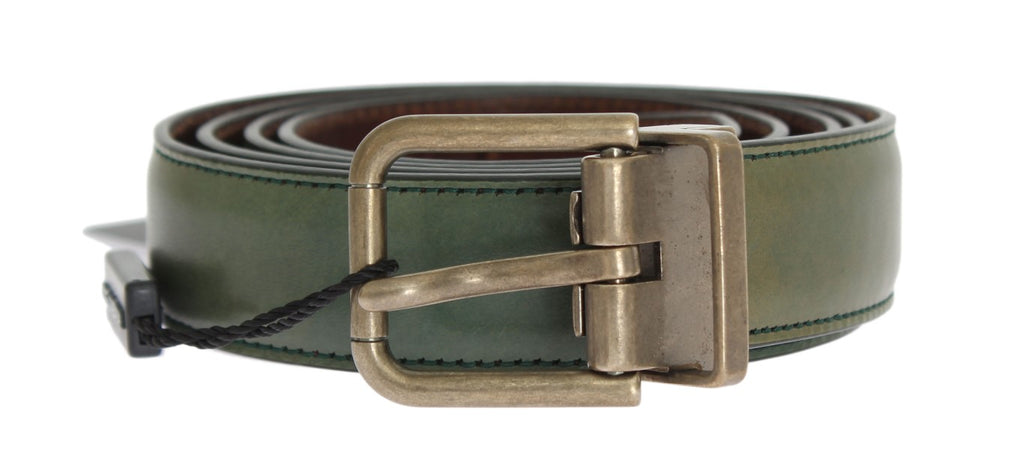 Green Leather Gold Buckle Belt