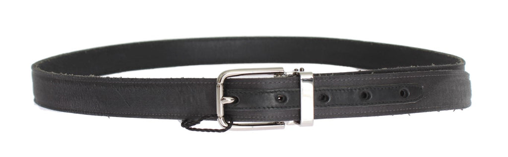 Black Leather Silver Buckle Belt