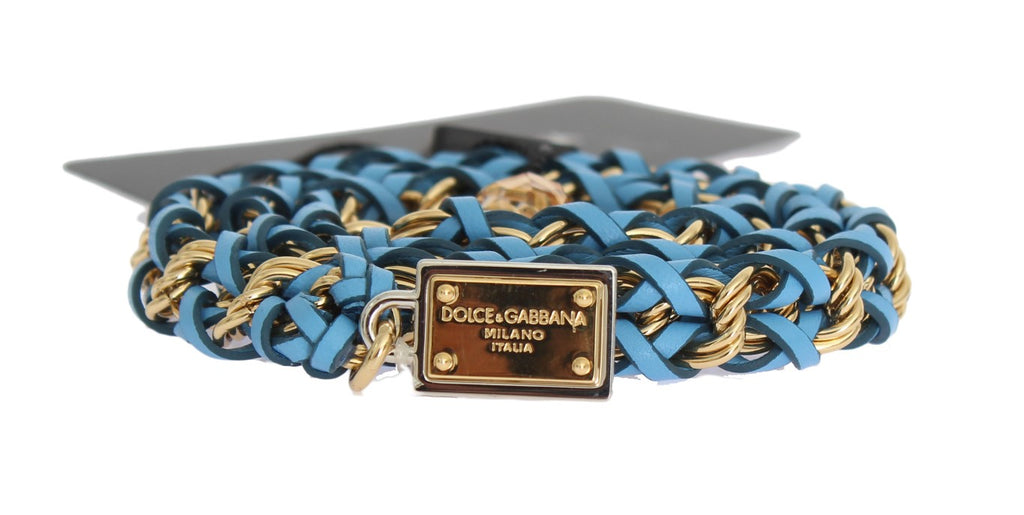 Blue Leather Crystal Gold Belt