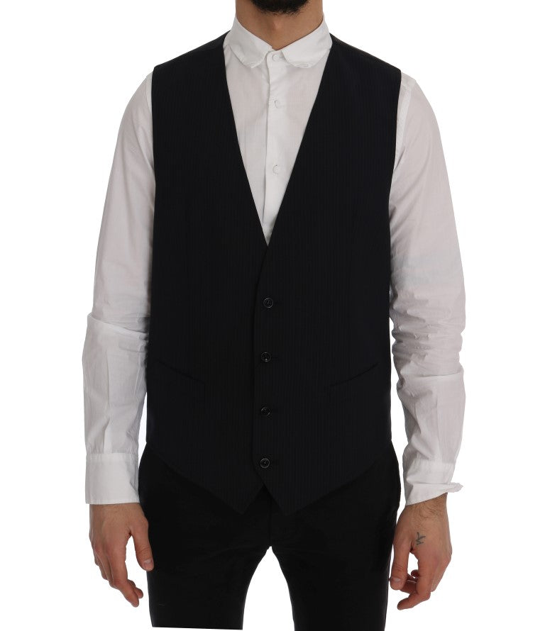 Black STAFF Wool Striped Vest