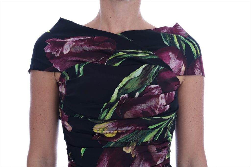 Black Silk Stretch Purple Tulip Sheath Dress