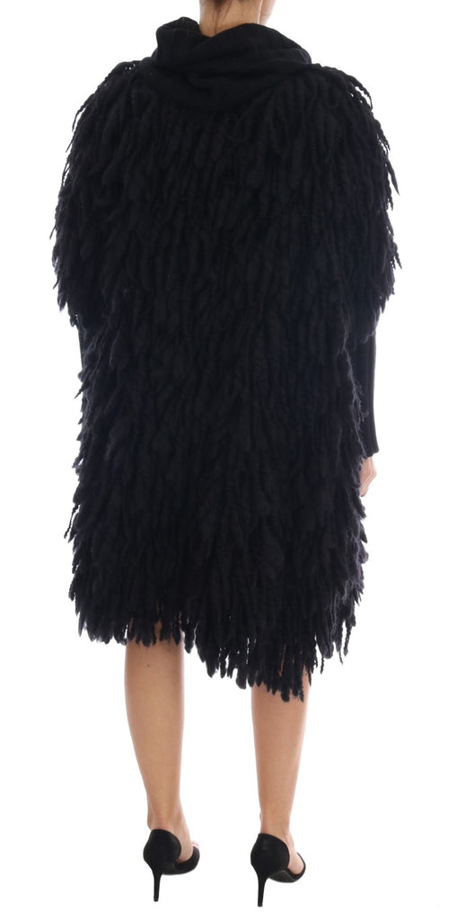 Black Fringes Wool Pullover Sweater