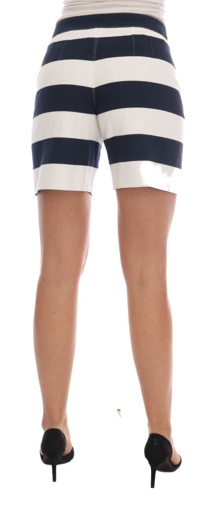 White Blue Striped Crystal Shorts