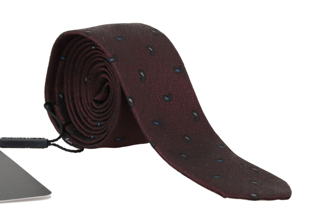 Bordeaux 100% Silk Pattern Slim Tie