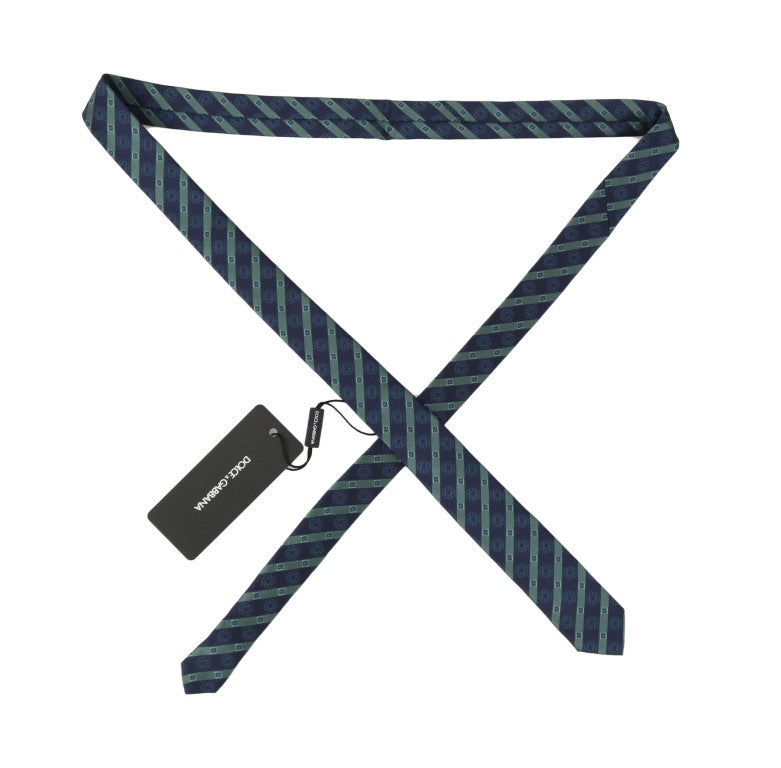 Blue Silk Striped Skinny Tie