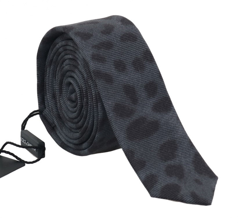 Gray Silk Black Dotted Slim Tie