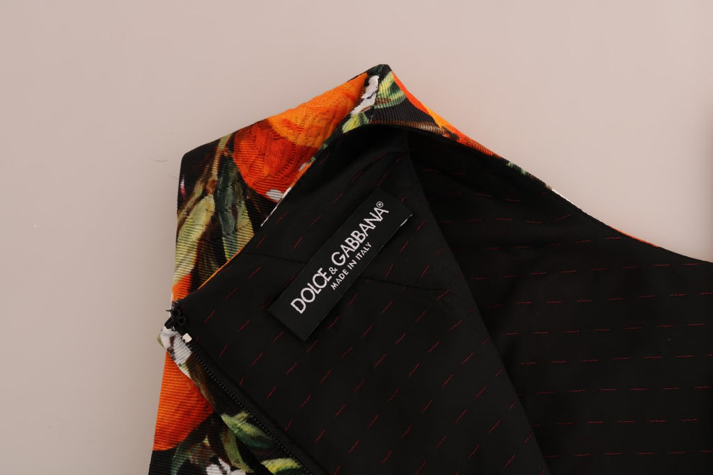 Black Orange Fruit Brocade Dress