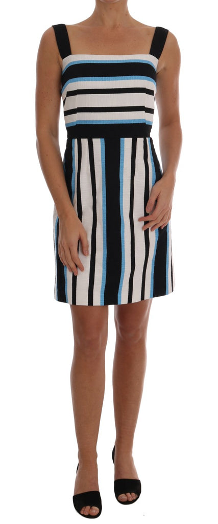 Blue White Striped Cotton A-Line Dress
