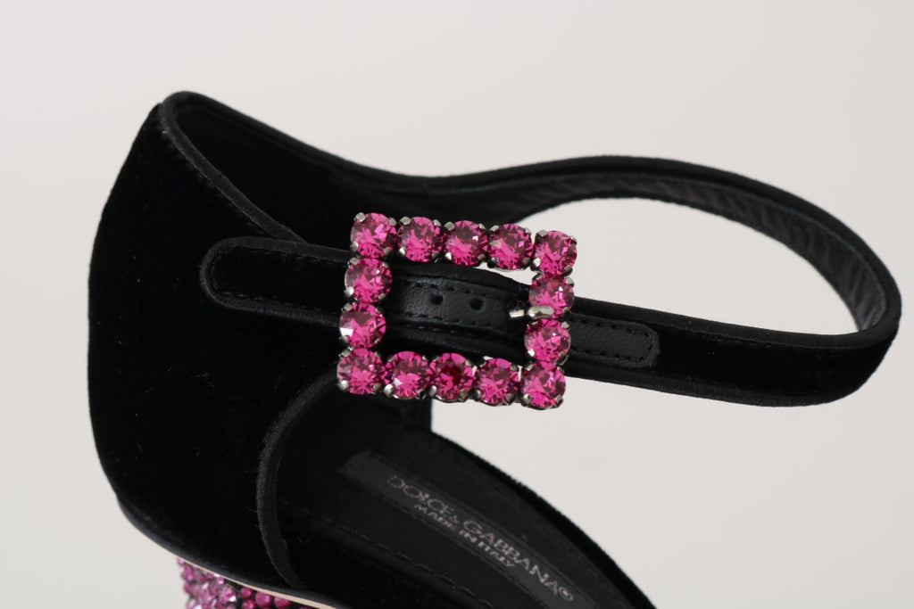 Black Velvet Pink Crystal Mary Janes Shoes