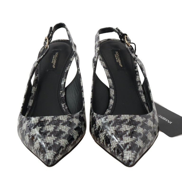 Black White Leather Slingback Shoes