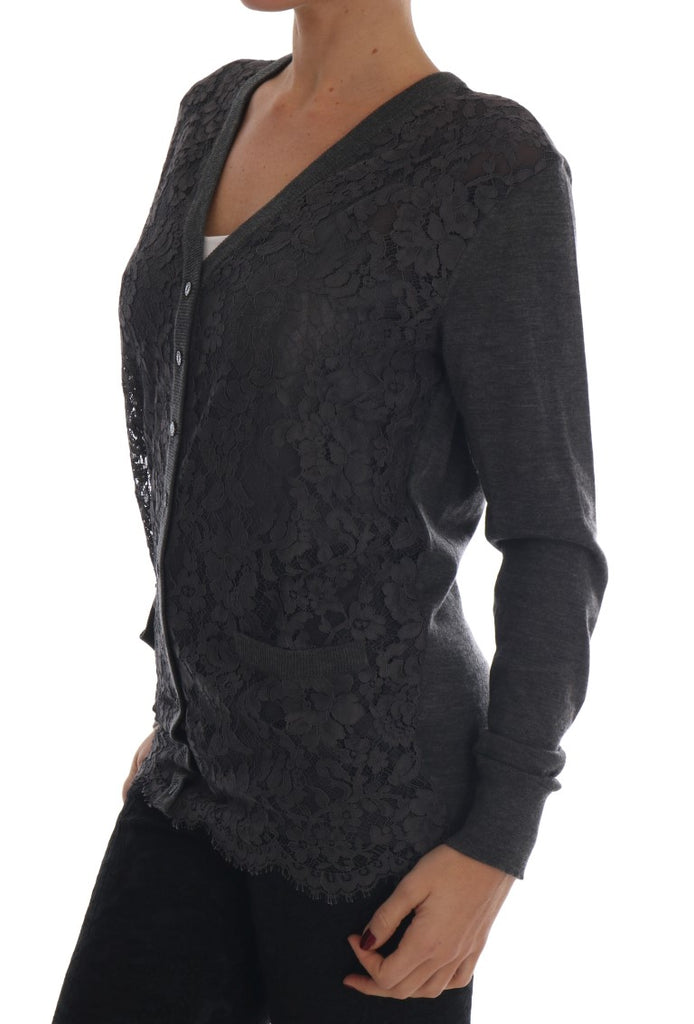 Gray Cashmere Floral Lace Cardigan Sweater