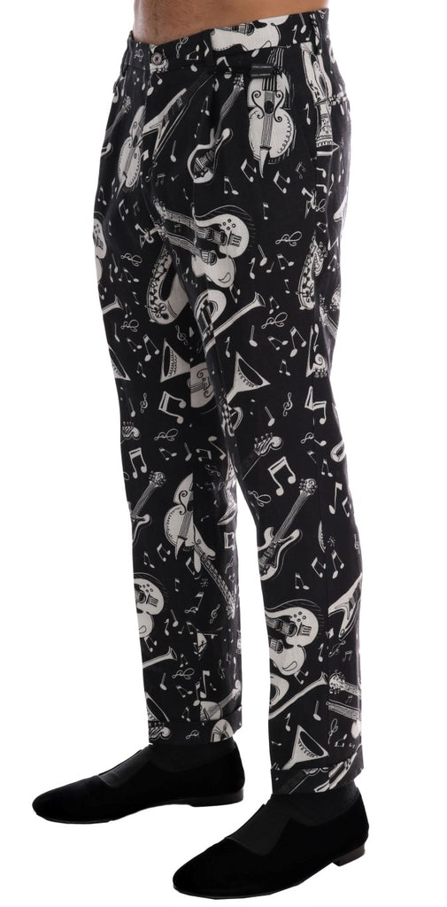 Black Jazz Print Linen Pants
