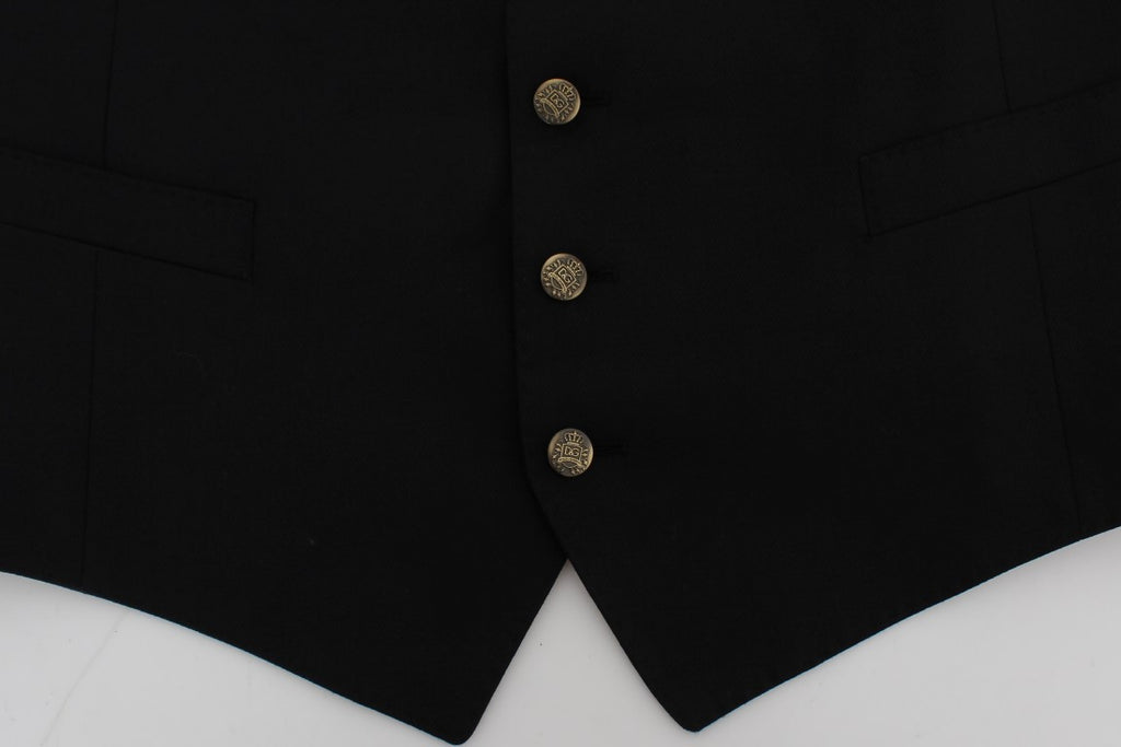 Black Wool Blend Formal Vest