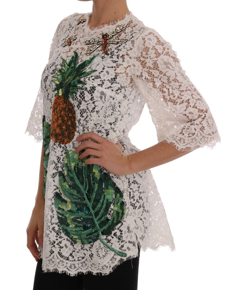White Crystal Embellished Lace Blouse