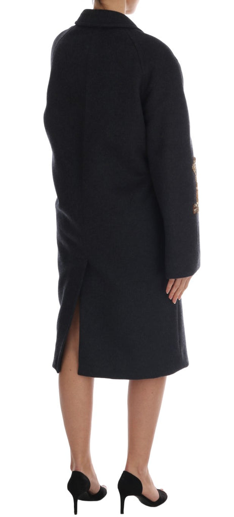 Gray Wool Cashmere Crystal Coat