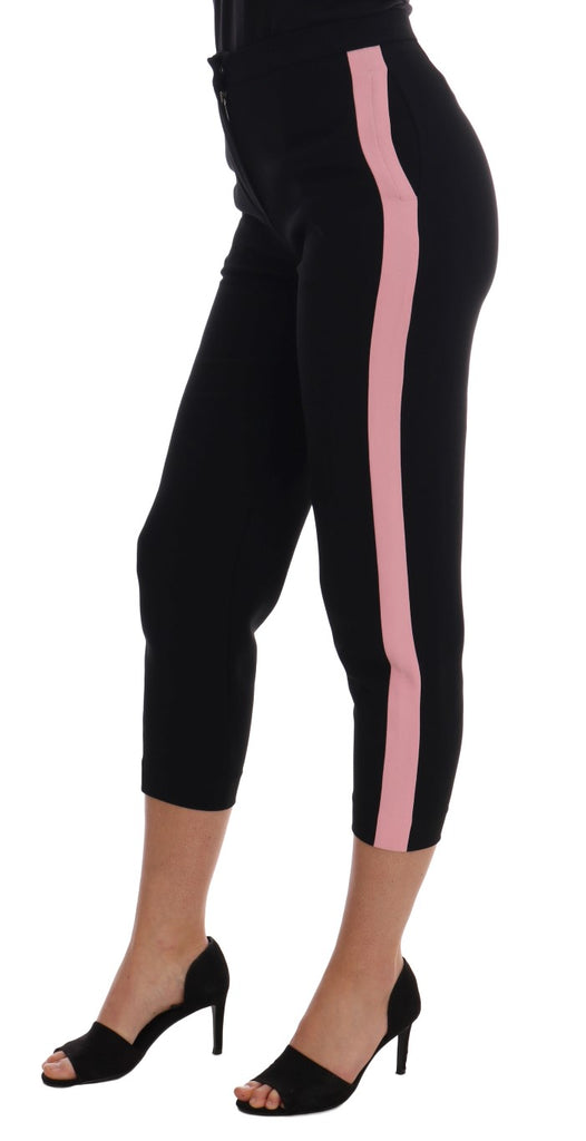 Black Stretch Pink Stripes Capri Pants