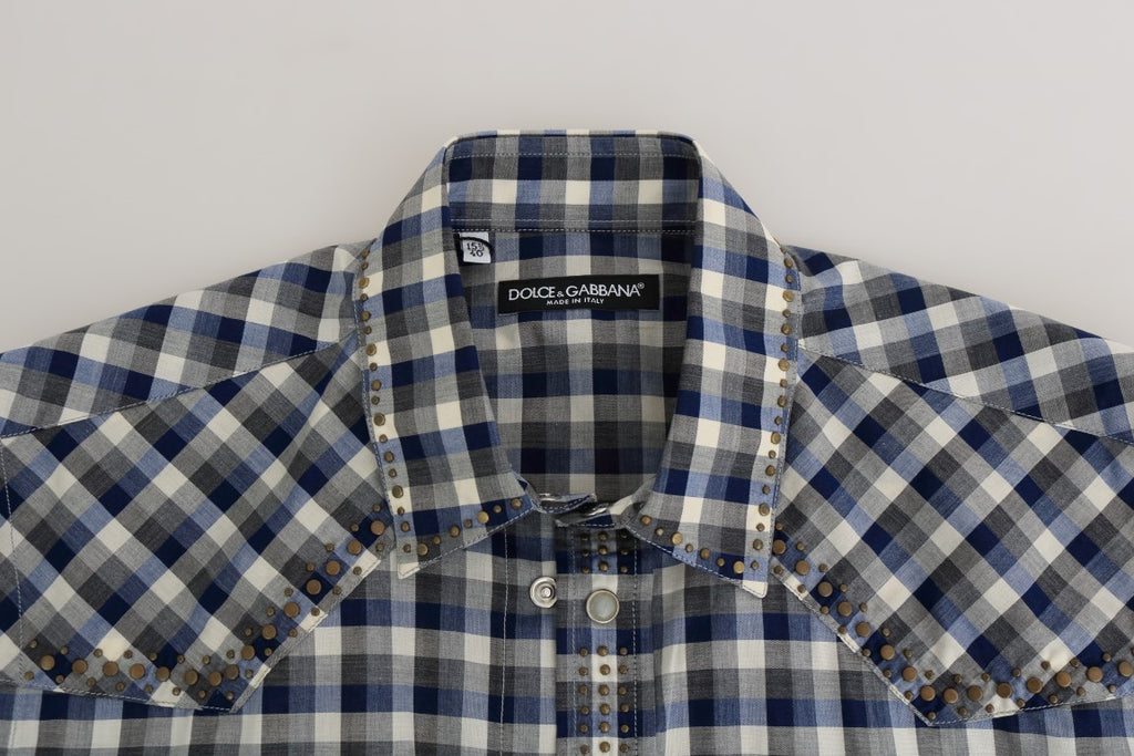 Blue Gray Check Cotton Slim Fit Shirt