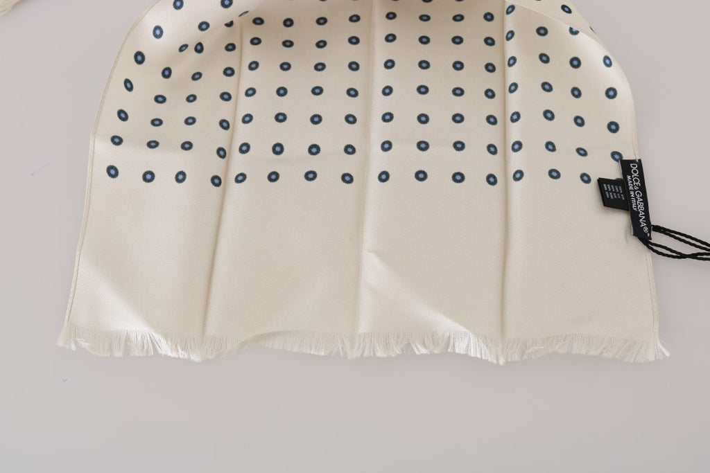 White Silk Blue Polka Dot Scarf