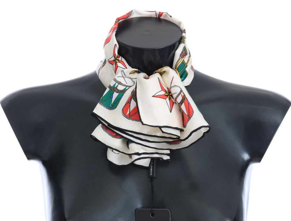 Multicolor Italian Flag Silk Scarf