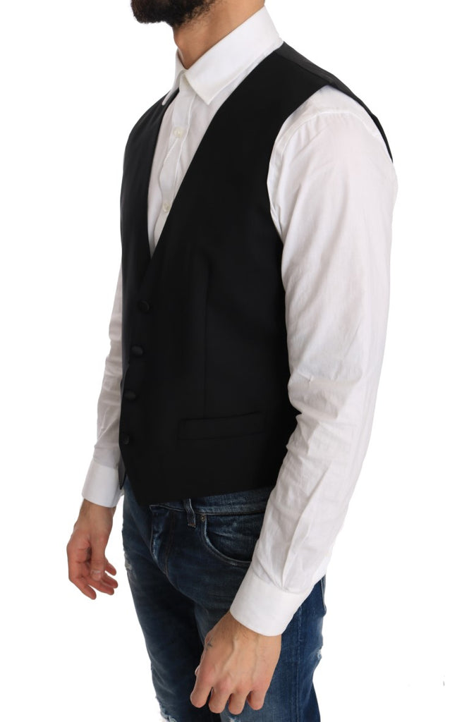 Black Wool Silk Vest